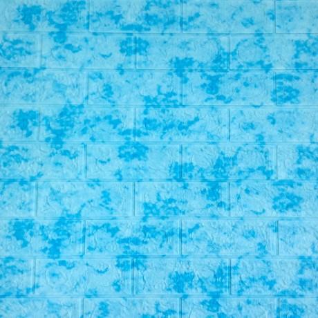 Самоклеющаяся декоративная 3D панель под кирпич голубой мрамор