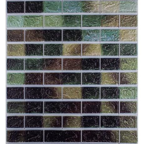 Самоклеюча декоративна 3D панель під цеглу зелений мікс