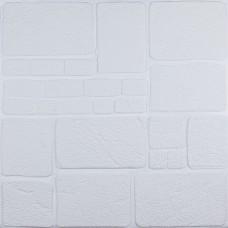 Самоклеюча декоративна 3D панель білий камінь 700x700x8мм