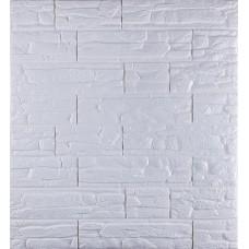 Самоклеющаяся декоративная 3D панель под рваный кирпич белый 700x770x8мм