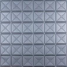 Самоклеюча 3D панель квадрат срібло 700x700x8мм