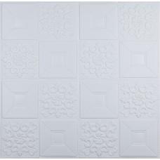 Самоклеюча 3D панель біла орнамент 700x700x5мм