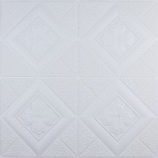 Самоклеюча 3D панель біла вишиванка 700x700x5мм