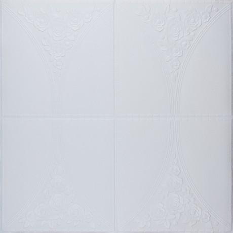 Самоклеющаяся 3D панель белая роза 700x700x4мм