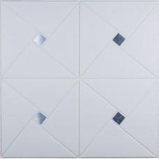 Самоклеюча 3D панель білий ромб з сріблом 700x700x6,5 мм