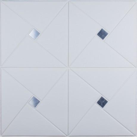 Самоклеющаяся 3D панель белый ромб с серебром 700x700x6,5 мм
