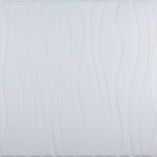 Самоклеюча 3D панель біла хвилі 700x700x7мм