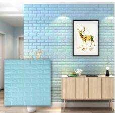 Самоклеющаяся декоративная 3D панель под бирюзовый кирпич 700x770x7мм