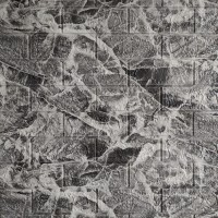 Самоклеюча декоративна 3D панель під цеглу чорний мармур 700x770x5мм