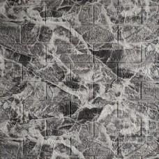 Самоклеющаяся декоративная 3D панель под кирпич черный мрамор 700x770x5мм