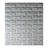 Самоклеюча декоративна 3D панель під цеглу срібло 700x770x7мм