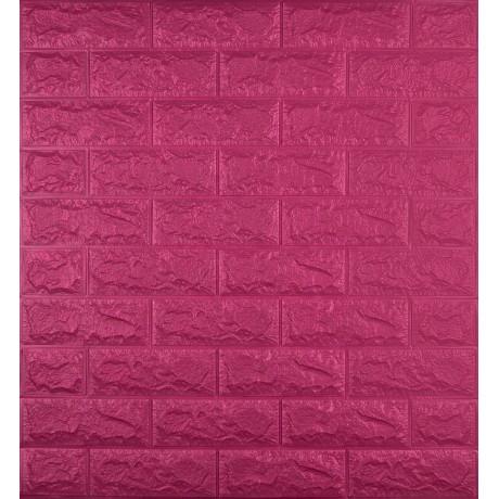Самоклеющаяся декоративная 3D панель под темно-розовый кирпич 700x770x7 мм