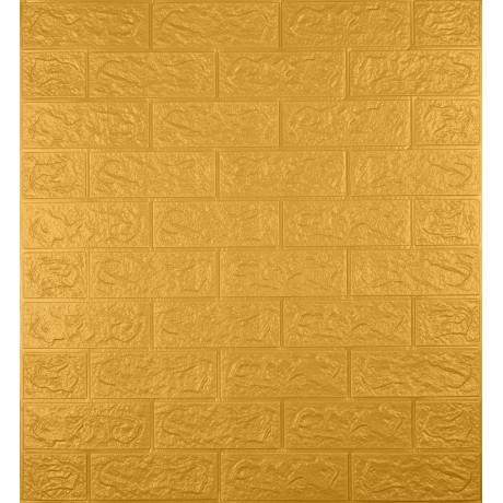 Самоклеющаяся декоративная 3D панель под кирпич золото 5 мм